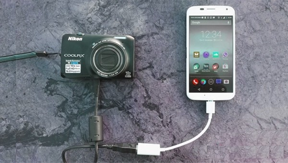 Camera connected to phone with OTG