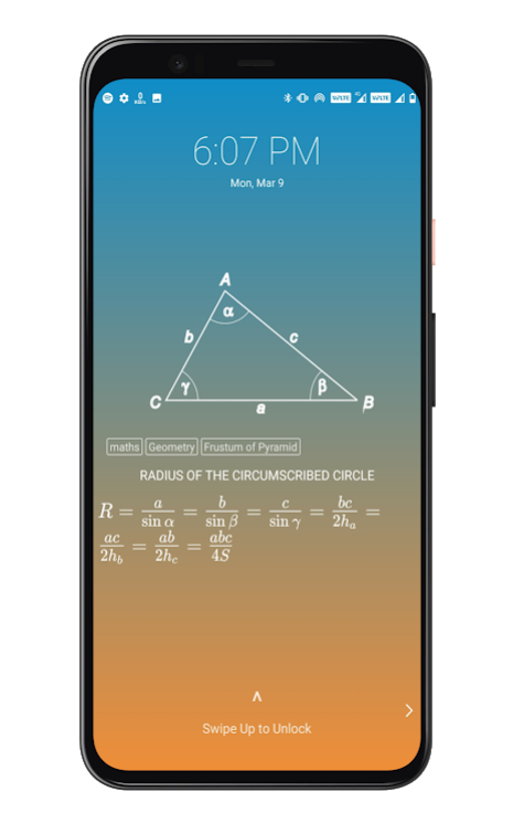 Formula Lockscreen - Maths Formulas on Lockscreen